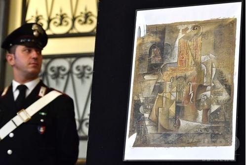 ピカソ作「バスの瓶が描かれた油彩画」