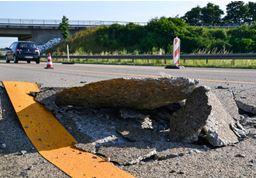 7/3熱波で変形したドイツの高速道路