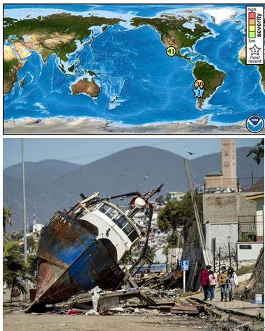 地震に襲地震に襲われたチリ・コキンボの港