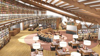武雄市市立図書館の内部、新築してオープン。