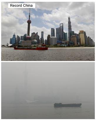 上海シンボルのTV塔が微かに見える。