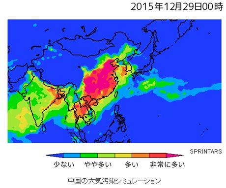 中国の大気汚染シミュレーション