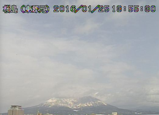 南国桜島も雪化粧