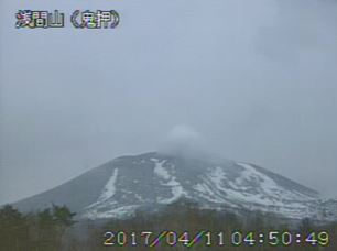 <今朝の浅間山>気象庁火山ライブ映像より