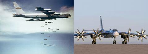 中国H6爆撃機(左)と露Tu-95MS爆撃機