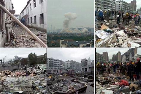 寧波の爆発現場